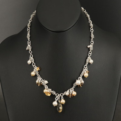 Michael Dawkins Sterling Pearl and Citrine Necklace