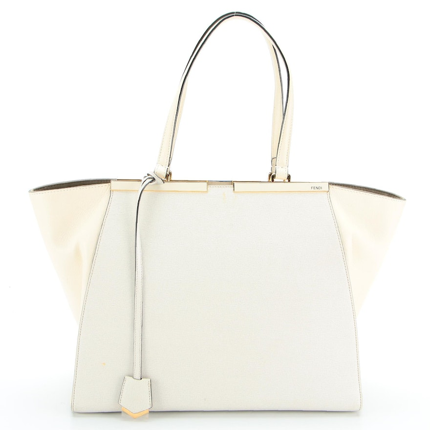 Fendi 3 Jours Tote Bag in Off-White Leather and Saffiano Leather