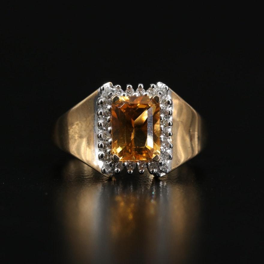 10K Citrine and Diamond Halo Ring