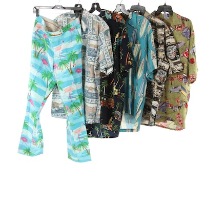 Men's Reyn Spooner, Pineapple Connection, and Other Hawaiian Shirts with Pants