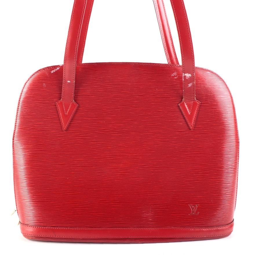 Louis Vuitton Lussac Tote in Castilian Red Epi Leather