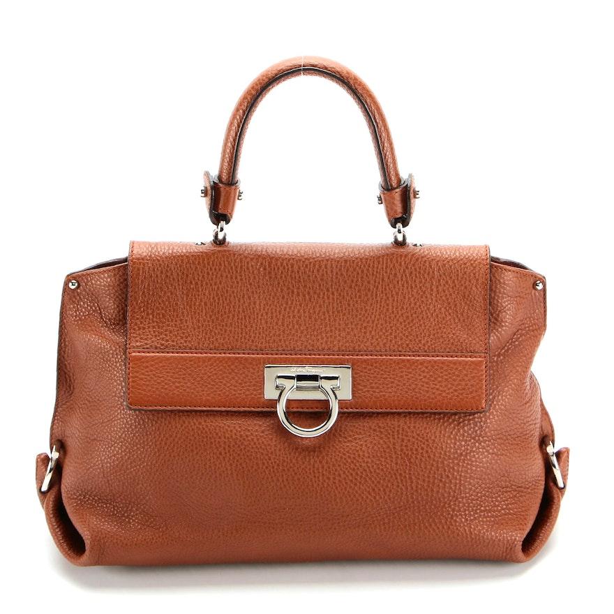 Salvatore Ferragamo Sofia Brown Leather Two-Way Satchel with Gancini Hardware