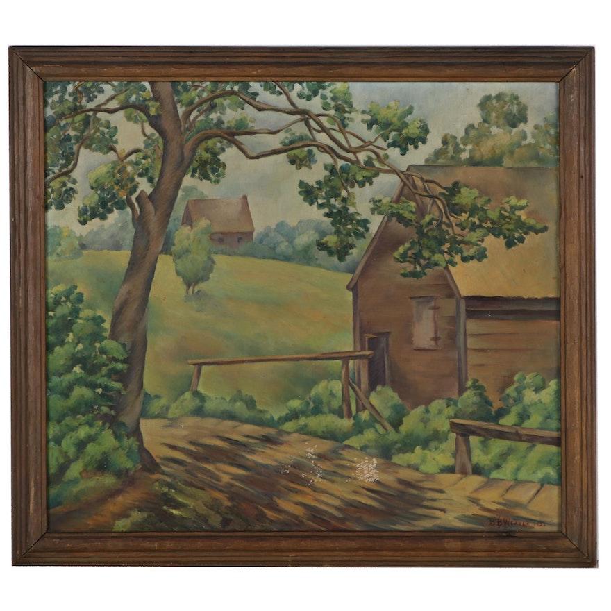 B.B. Weaver Landscape Oil Painting of Cabin, 1926