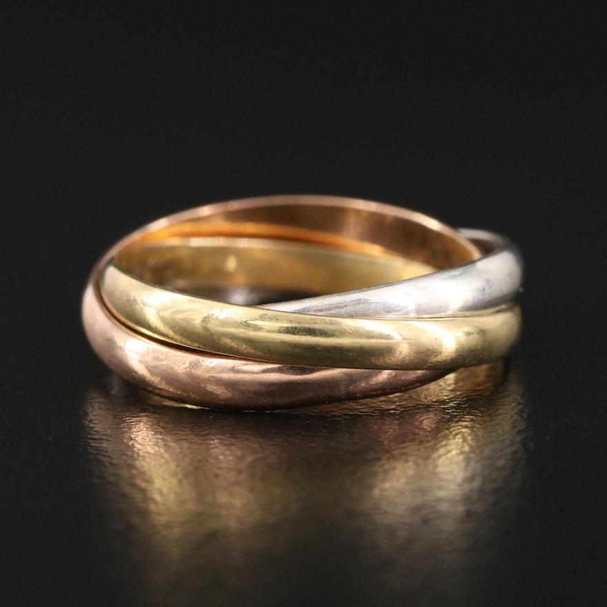 14K Tri-Color Gold Rolling Ring