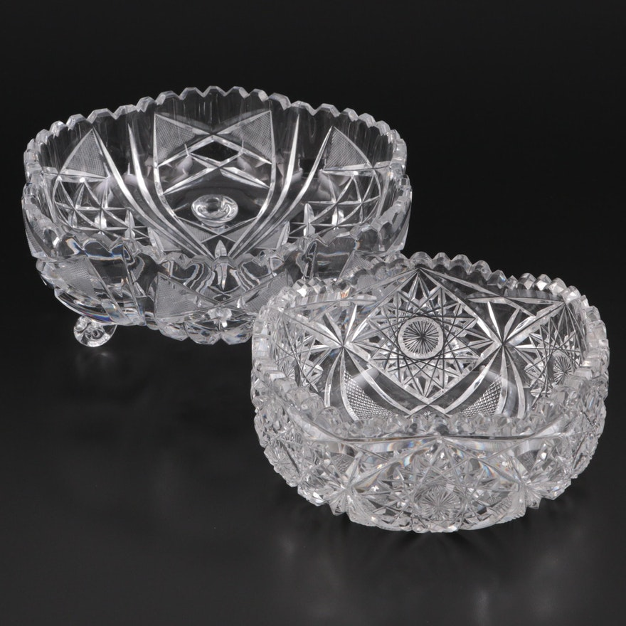 American Brilliant Style Cut Glass Bowls, 20th Century