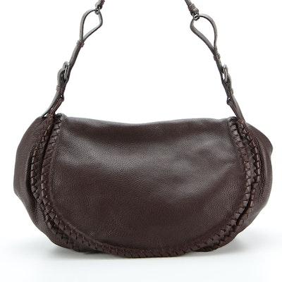 Bottega Veneta Saddle Messenger Bag in Grained Leather with Intrecciato Detail
