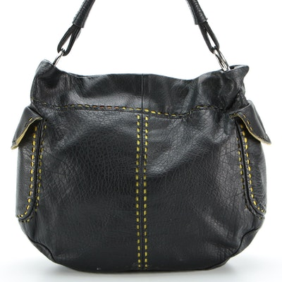 Prada Black Leather and Chartreuse Nylon Cut-Out Snap Shoulder Bag