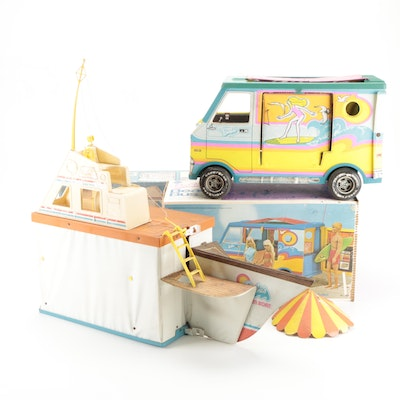 Barbie Beach Bus and Dream Boat with Original Packaging, 1970s