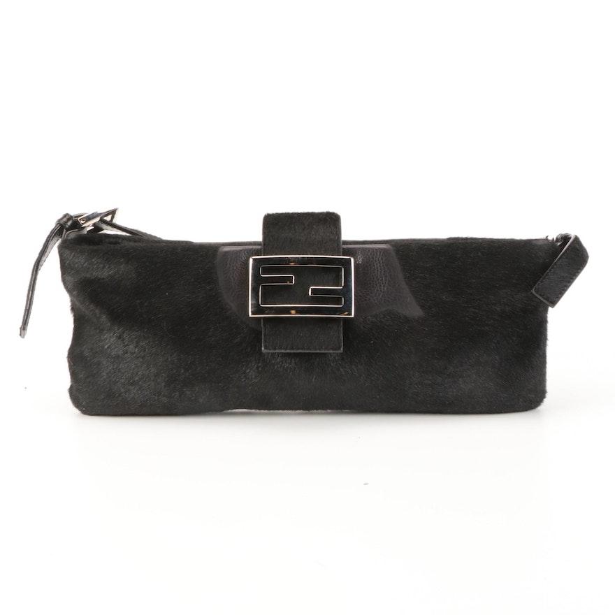 Fendi Baguette Shoulder Bag in Black Calf Hair and Leather
