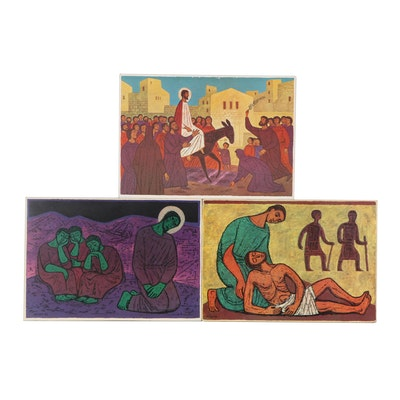 Offset Lithographs After Grüger of Biblical Scenes, Late 20th Century
