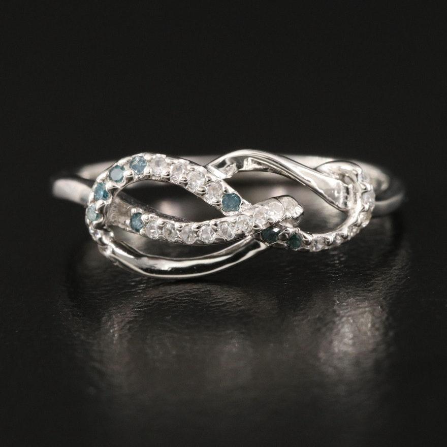 Sterling Diamond and Zircon Loop Ring