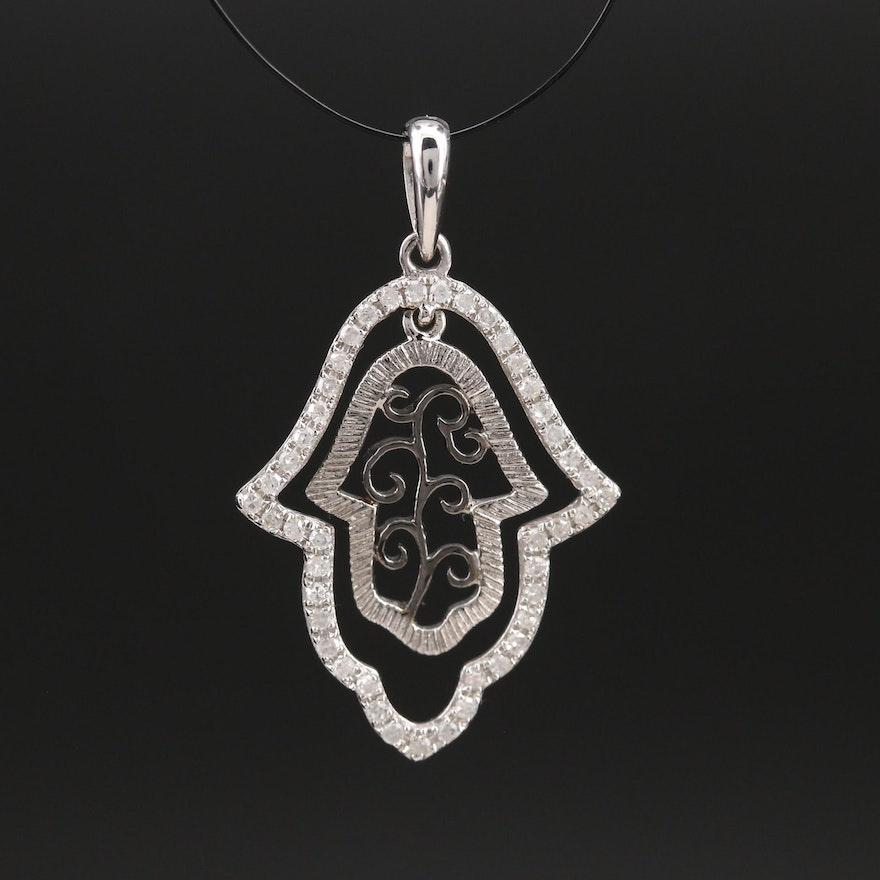 14K 0.22 CTW Diamond Scrollwork Hamsa Pendant