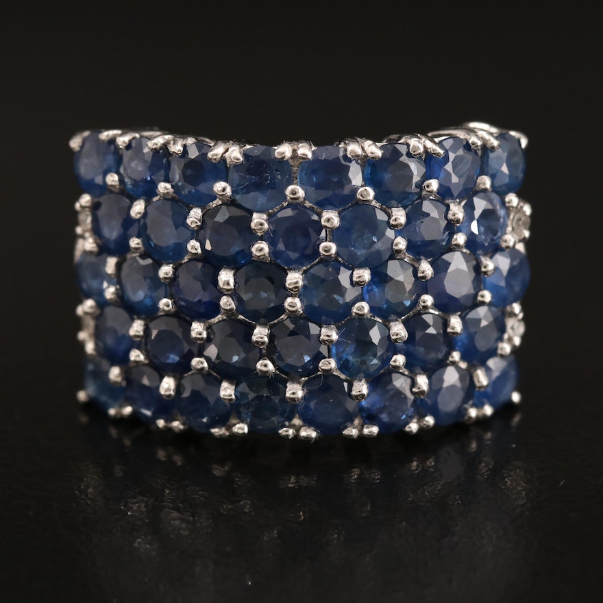 Sterling Sapphire Cluster Ring