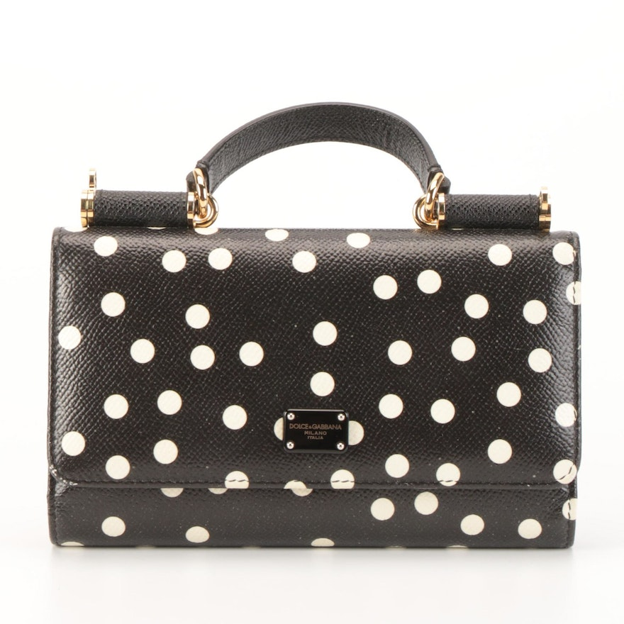 Dolce & Gabbana Sicily Wallet on Chain in Polka Dot Printed Grained Leather
