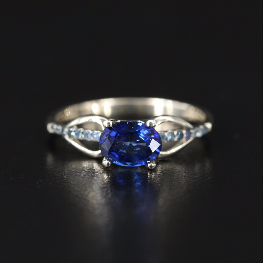 14K Sapphire East-West Ring with Openwork Shoulders