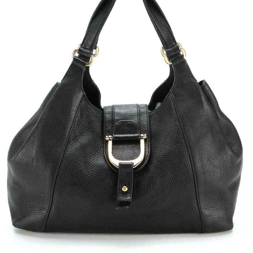 Gucci Greenwich Medium Shoulder Bag in Black Grained Leather