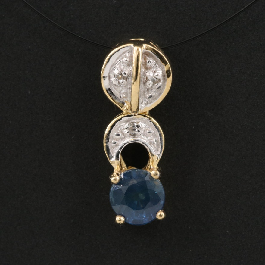 Sterling Silver Sapphire and Zircon Pendant