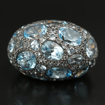 Pomellato 18K and Sterling Sky Blue Topaz Domed Ring