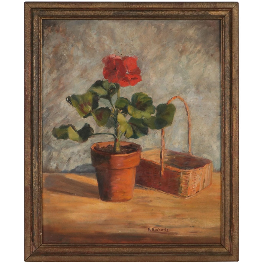 H. Richards Still Life Oil Painting of Flowers, Mid-Late 20th Century