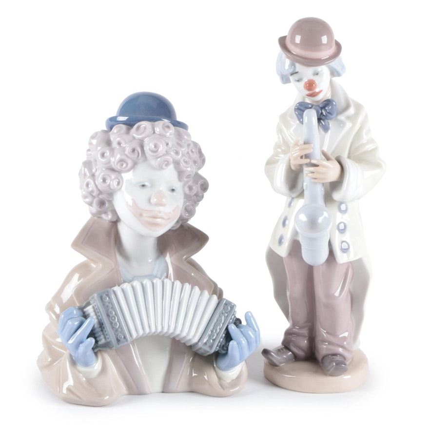 """Lladró """"Sad Sax"""" and """"Fine Melody"""" Porcelain Figurines, Late 20th Century"""