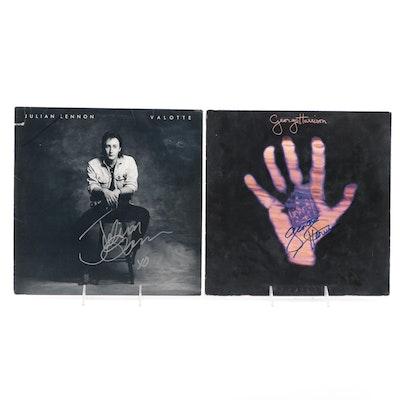 George Harrison, Julian Lennon Signed Vinyl LP Records