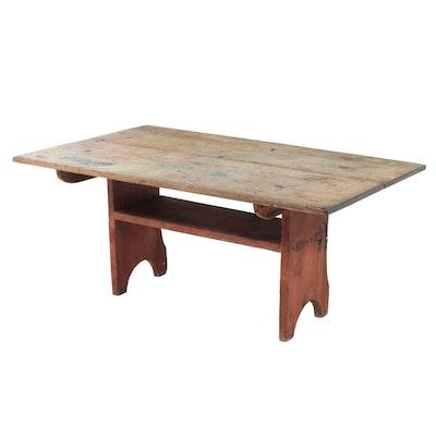 American Primitive Pine Bench Table, 19th Century