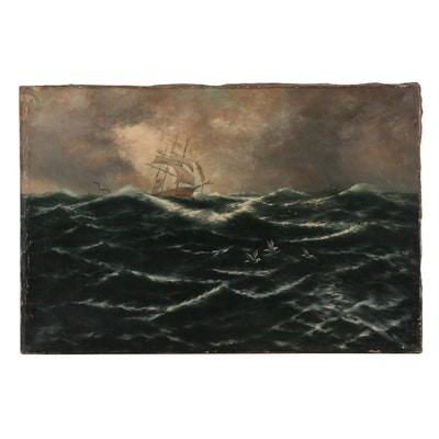 P. Fogg Seascape Oil Painting of Ship, Early 20th Century