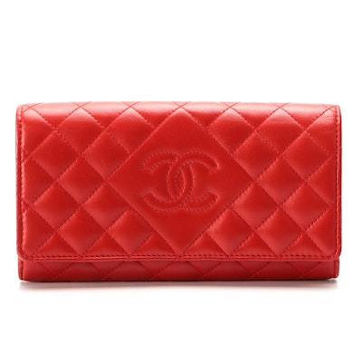Chanel Red Lambskin Diamond CC Stitched Flap Quilted Long Wallet with Box