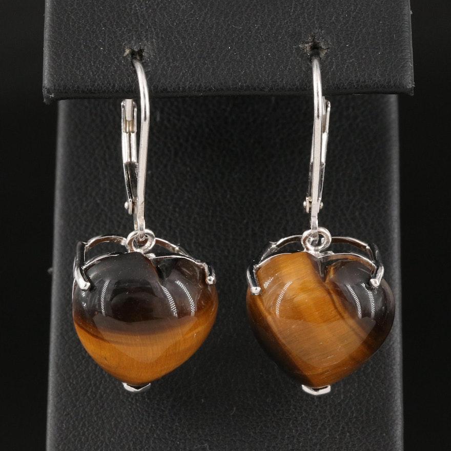 Sterling Silver Tiger's Eye Heart Earrings