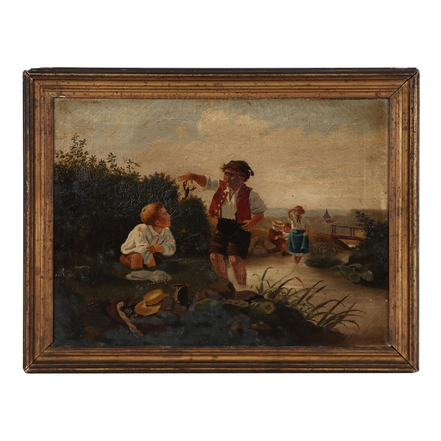 Narrative Oil Painting of Children at the Creek, Late 19th Century