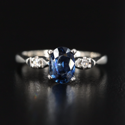 14K Sapphire Diamond Three Stone Ring