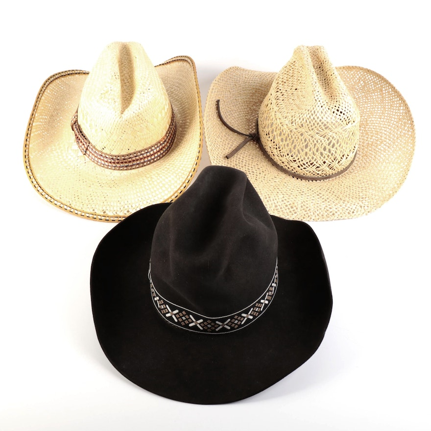 Stetson 3X Beaver Felt Cowboy Hat with Stetson and Resistol Straw Cowboy Hats