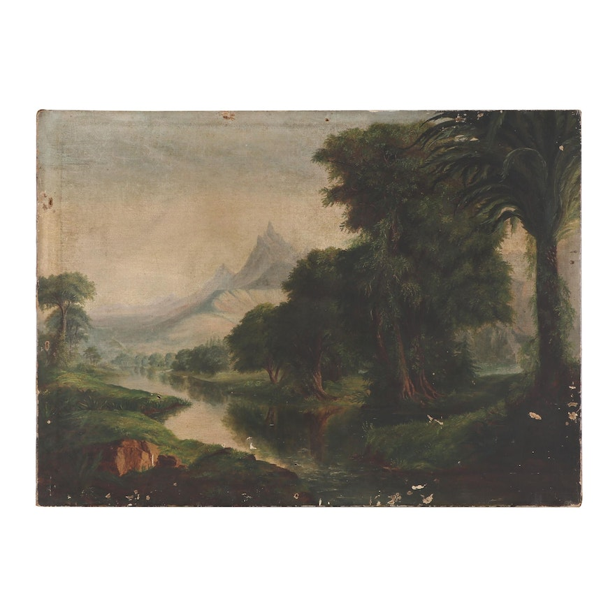Forest Mountain Landscape Oil Painting, Late 19th Century