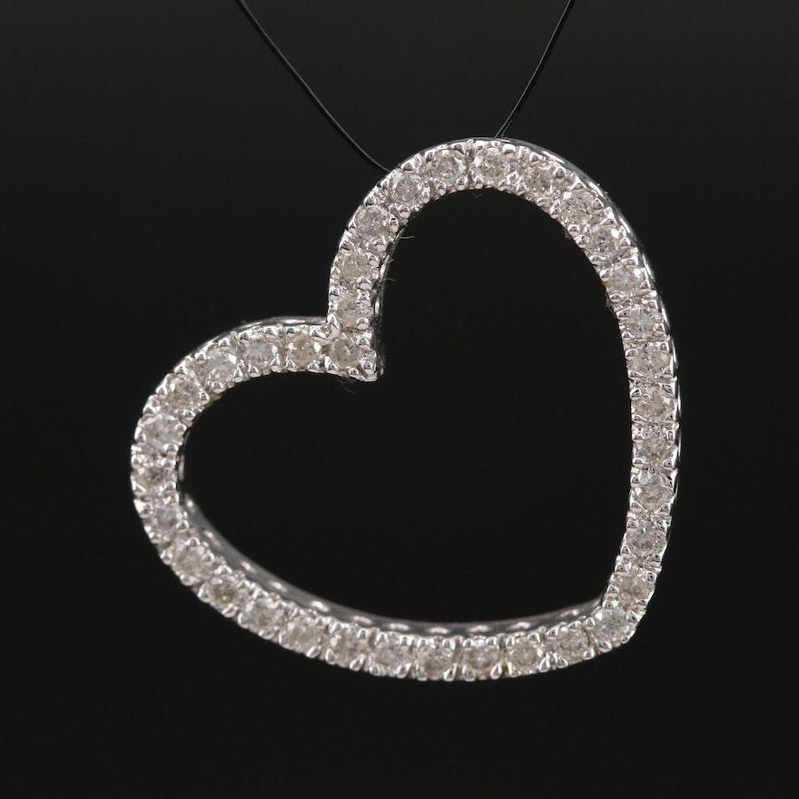 14K 0.58 CTW Diamond Heart Slide Pendant