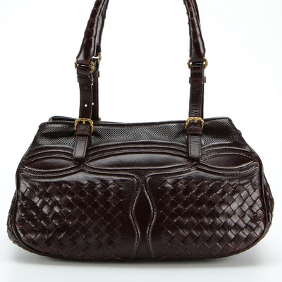 Bottega Veneta Belted Dark Brown Intrecciato and Perforated Leather Handbag