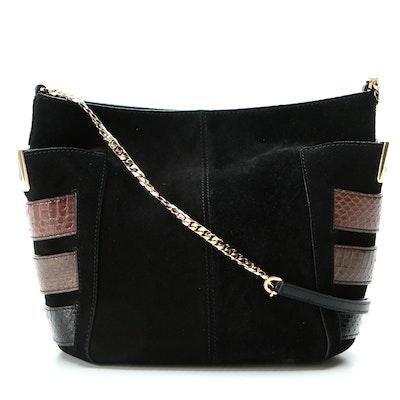 Jimmy Choo Snakeskin Trimmed Black Suede Shoulder Bag