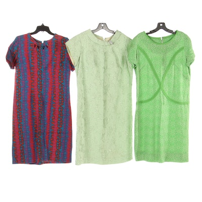 Jule Wyer Dress in Graphic Print, Doubleknit Dress and Brocade Dress