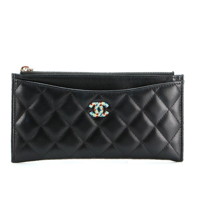 Chanel Classic Zip Pouch in Black Quilted Lambskin with Enameled CC Logo