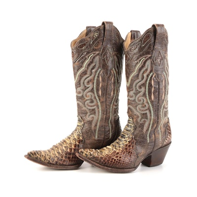 Corral Boots Python Snakeskin and Embroidered Leather Boots