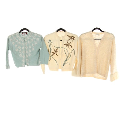 Cyn Les, Silver House and Other Embellished Cardigans Including Mink Fur