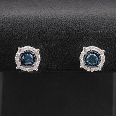 Sterling 1.06 CTW Diamond Halo Earrings
