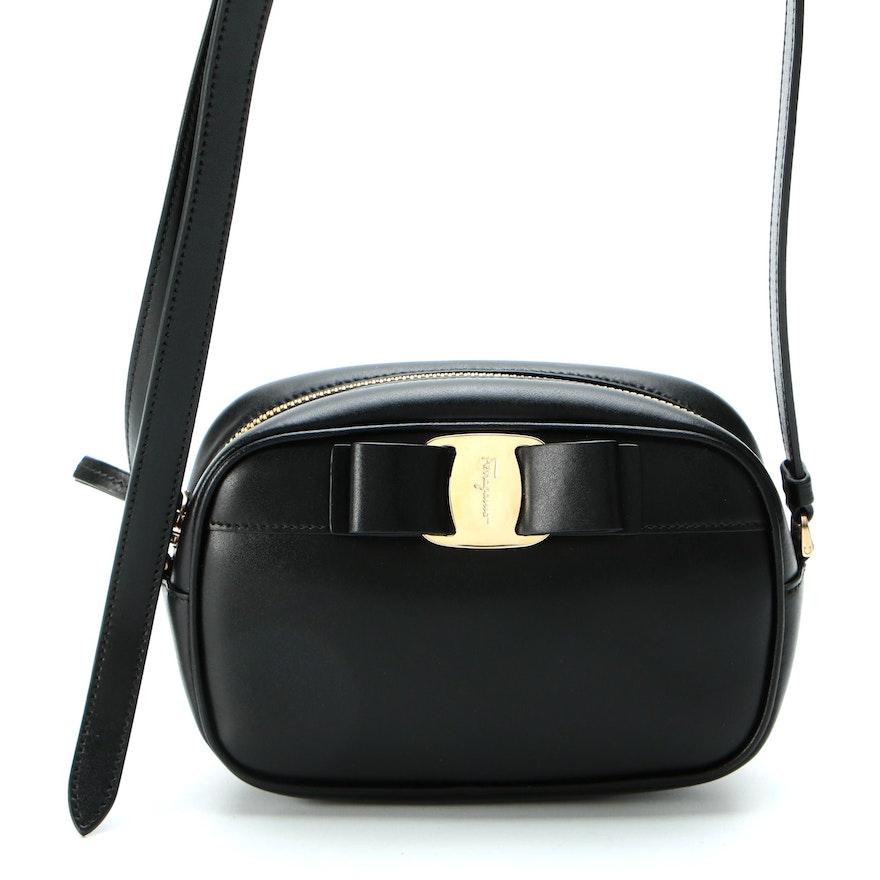 Salvatore Ferragamo Vara Bow Camera Bag in Black Leather