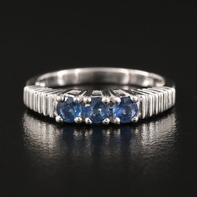Sterling Silver Three Stone Sapphire Stackable Ring