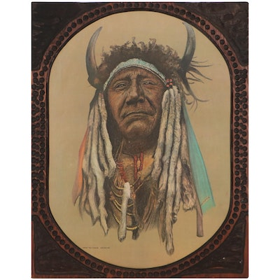 """Offset Lithograph After Hans P. Luetcke """"Chief Two Moons - Cheyenne"""""""