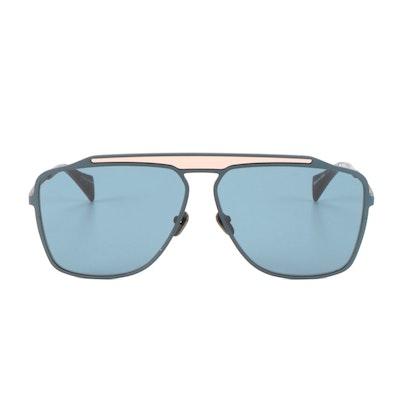 Yohji Yamamoto Sunglasses Aviator Matte Navy Frame Blue Lens