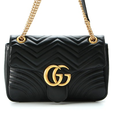 Gucci GG Marmont Medium Matelassé Black Calfskin Shoulder Bag