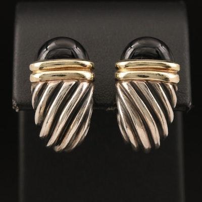"David Yurman ""Waverly"" Sterling Black Onyx J Hoop Earrings with 14K Accents"