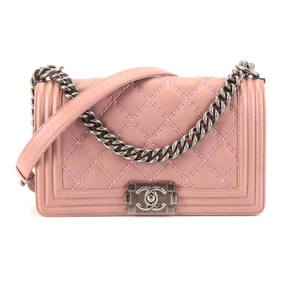 Chanel Boy Flap Bag Old Medium in Double Stitch Quilted Calfskin