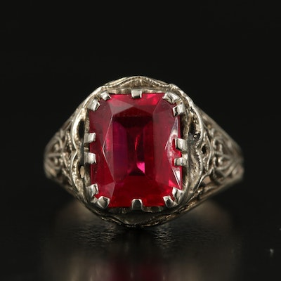 1930s 14K Ruby Ring with Openwork Shoulders