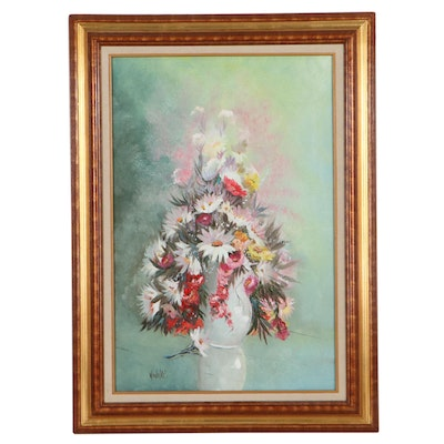 Robert E. Winings Floral Still Life Oil Painting, Late 20th Century